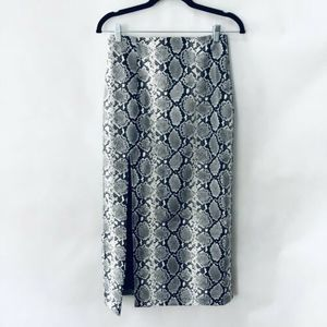 Topshop Snake Midi Pencil Skirt 6 Faux Leather